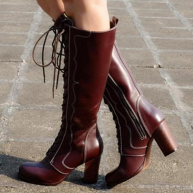 Chunky Heel Lace-Up Faux Leather Cowgirl Boots