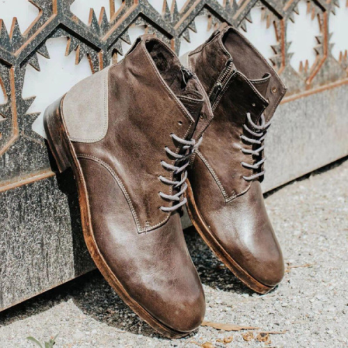 Square Head Retro Front Lace-Up Low-Heeled Men's Leather Martin Boots