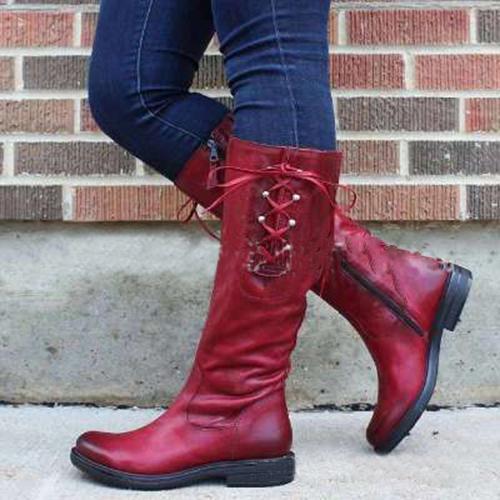 Women Lace Side Zipper Low Heel Boots
