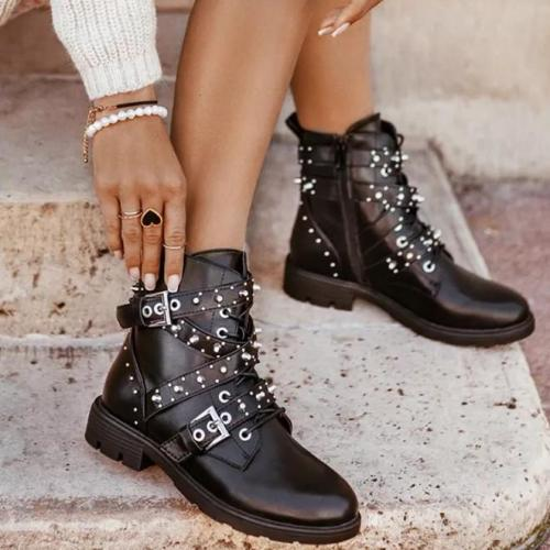 Women PU Rivet Buckle Boots