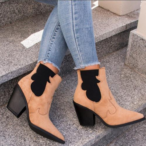Women Color Block Pointed Toe Boots