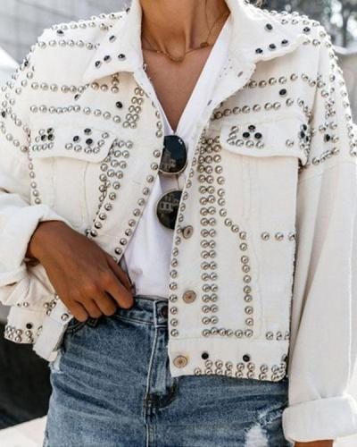 White Button Down Studded Long Sleeve Fashion Denim Jackets Women Jacket