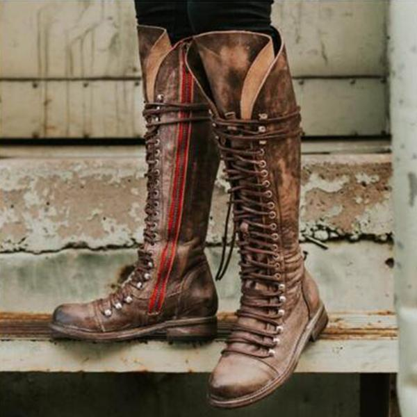 Women Fashion Motorcycle Knee-high Boots with Zipper