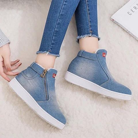 Deep Blue Denim Flat Heel Casual Women Boots