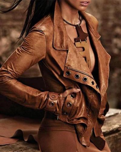 Camel Solid Pockets Vintage PU Jackets