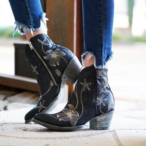 Womne Black Side Zipper Ankle Boots