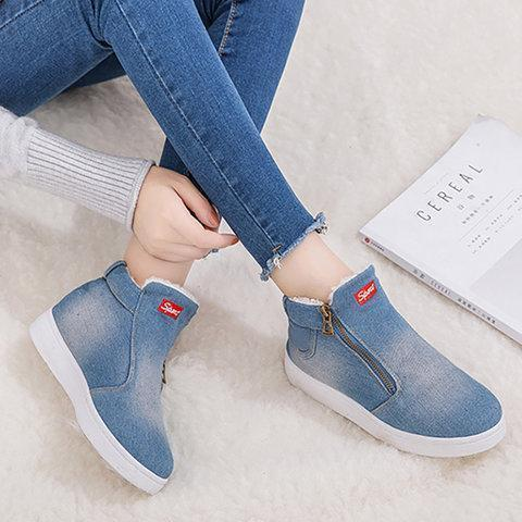 Deep Blue Denim Flat Heel Casual Women Boots