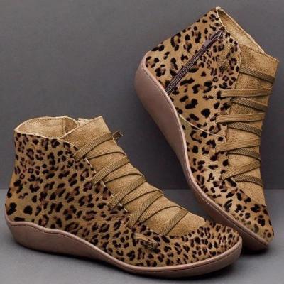 Leopard print Crisscross Lace-Up Low Wedges Ankle Booties