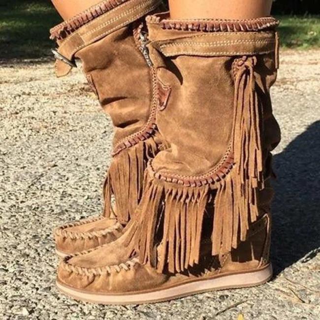 Brown Winter Suede Tassel Low Heel Boots