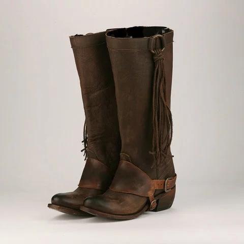 Women Vintage Tassel Knot Knee High Boots Chunky Heel Boots