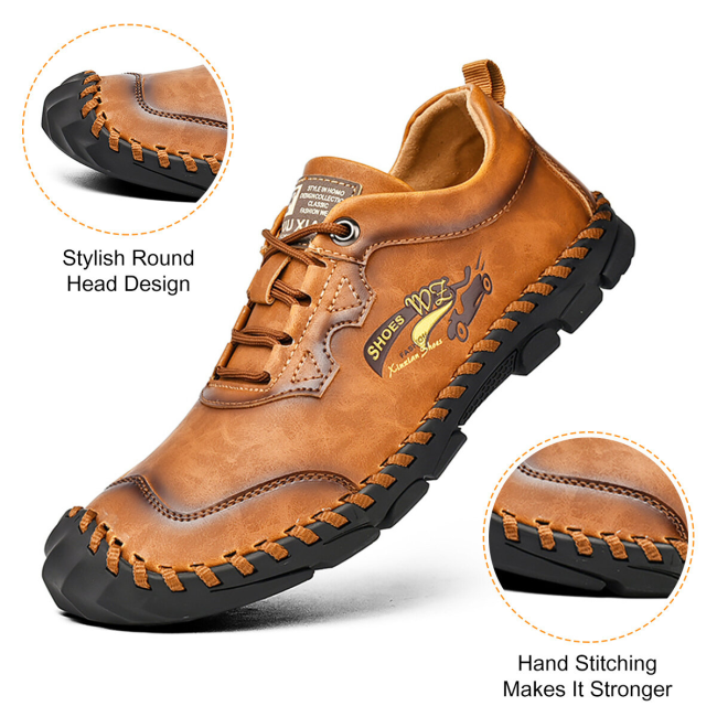 Men Hand Stitching Outdoor Toe Protective Slip Resistant Cow Leather Shoes