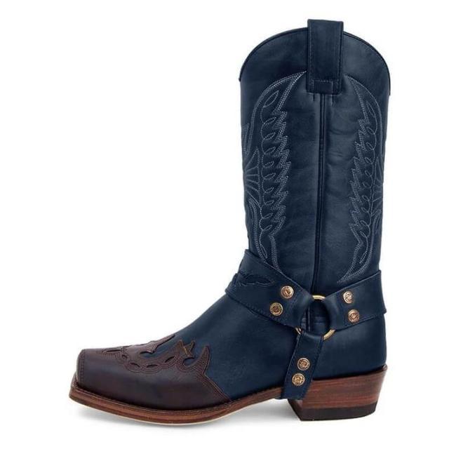 Men's Retro Carved Cowboy Boots