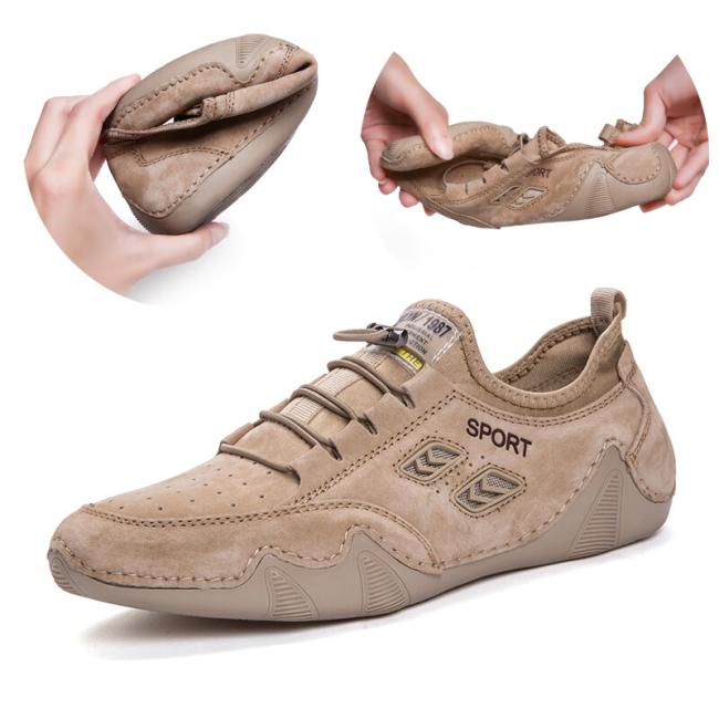Men Suede Non Slip Ealstic Lace Soft Sole Casual Driving Shoes