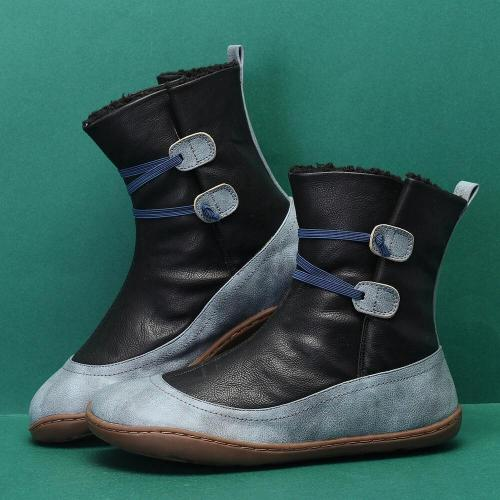 Microfibric Leather Slip On Fur Lining Winter Soft Sole Elastic Band Casual Snow Boots