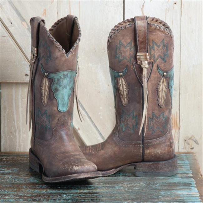 Slip-On Color Block Round Toe Fringe Boots