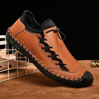 Men Hand Stitching Leather Non Slip Anti-collision Large Size Casual Shoes