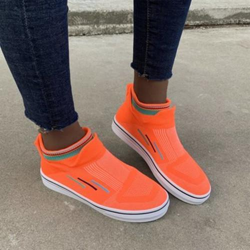 Women Comfy Elastic Slip On Hollow-out Non-slip Breathable Platform Sneakers