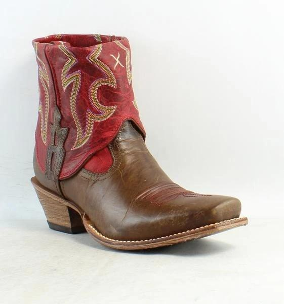 Womens Steppin Out Cuff Leather Cowboy Western Ankle Boots