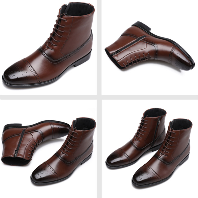 British Style Brock Carved Side Zipper Martin Boots