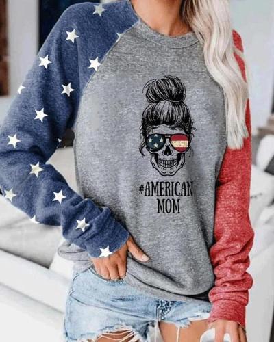 Women America Mom Color Block Tops