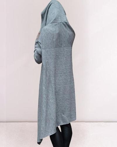 Women Print Casual Daily Long Hoodies