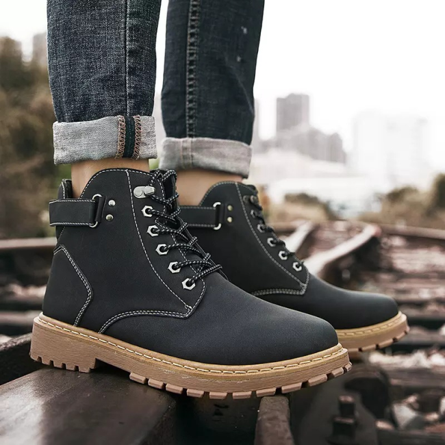 Men Outdoor Work Style Lace Up Ankle Leather Boots