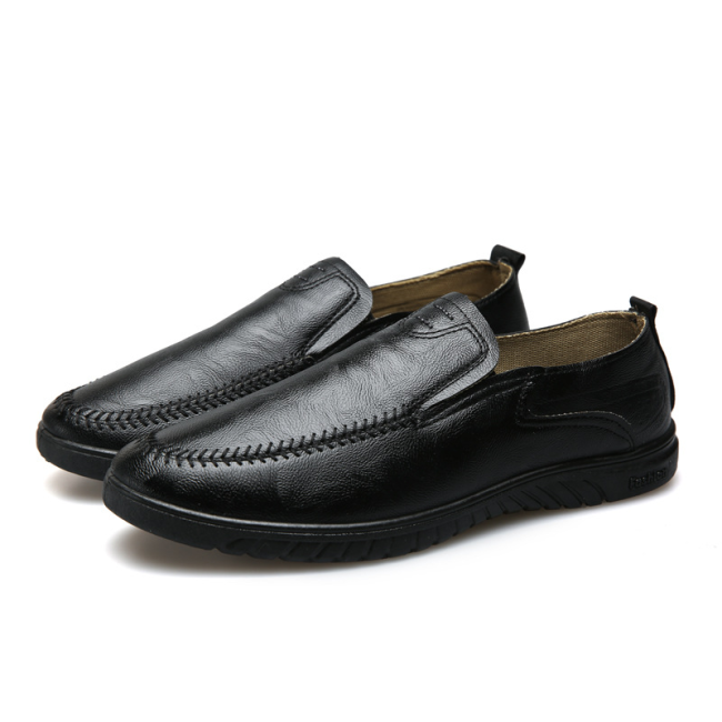 Men Pure Color PU Stitching Slip On Casaul Driving Shoes