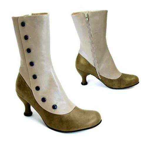 Women's Vintage Leather Platform High Heels Punk Boots