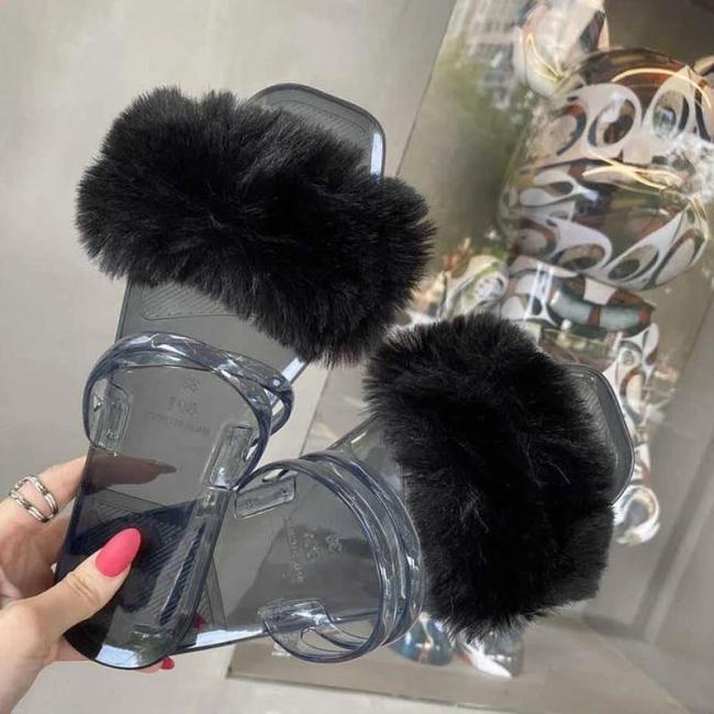 Women Cute Jelly Fluffy Fur Square Toe Slip On Flat Heel Sandals Slippers
