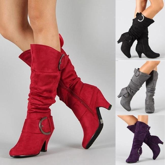 Women Flocking Booties Casual Knee High Plus Size Fashion Shoes