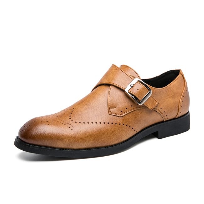 Men Microfiber PU Leather Buckle Formal Shoes