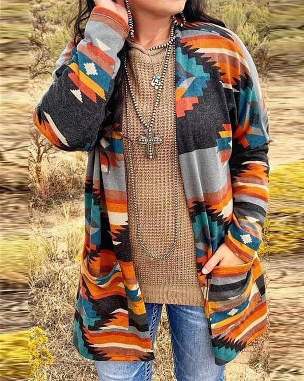 Colorful Geometric Print Long Sleeve Casual Overcoat