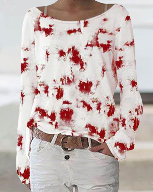 Gradient Print Crew Neck Casual Long Sleeves T-shirt