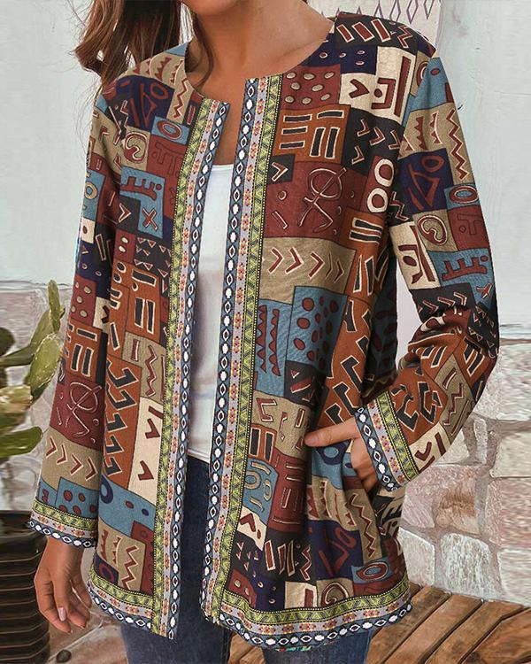 Vintage Print Webbing Patchwork Long Sleeve Plus Size Jackets