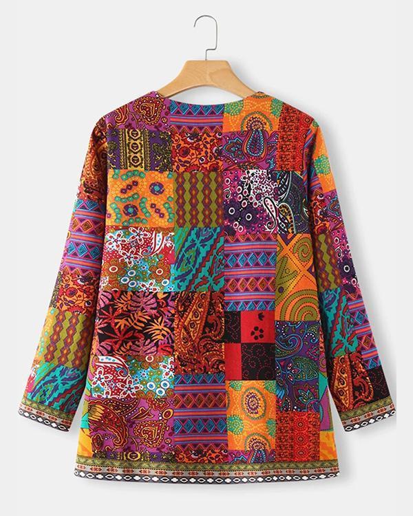 Vintage Ethnic Style Floral Print Plus Size Cotton Jackets