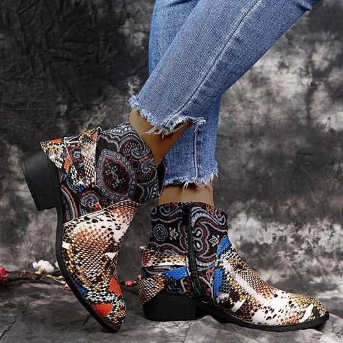Women Chic Snakeskin Characteristic Pattern Mixed Colors Zipper Chunky Heel Boots