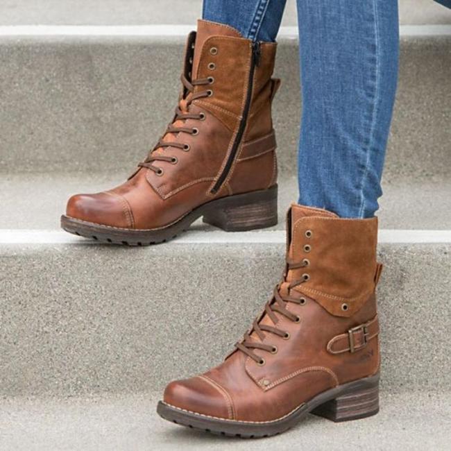 Adjustable Buckle Chunky Heel Casual Boots