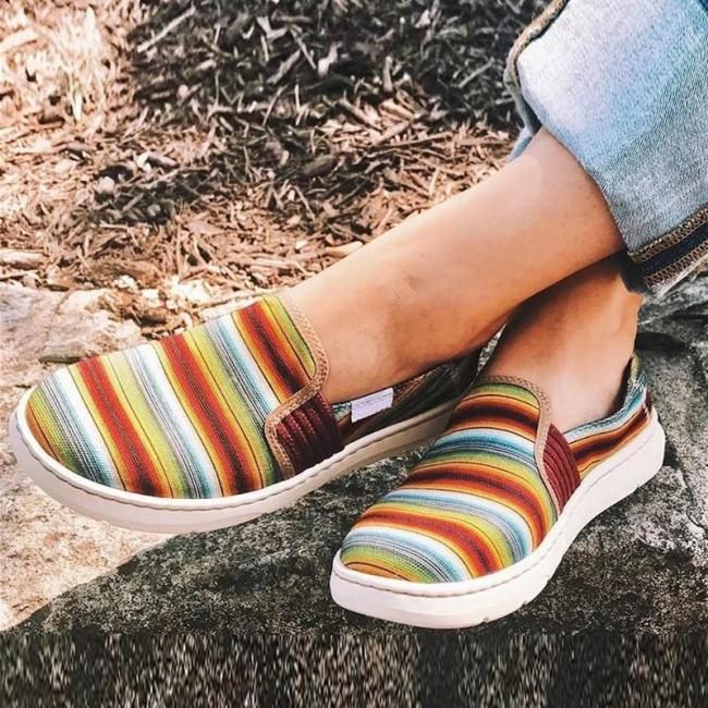 Colorblock Shallow Canvas Loafers