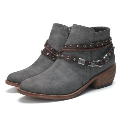 Metal Closed Toe Zipper Chunky Heel Boots