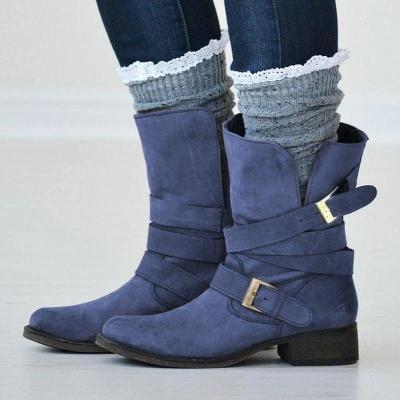 Women's Buckle Strap Artificial Leather Casual Boutique Boots