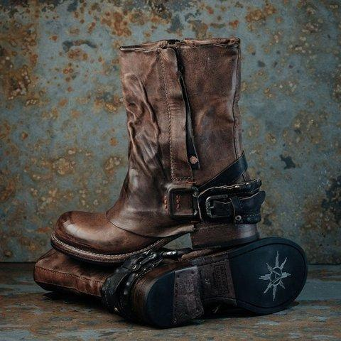 Women's Vintage Closed Toe Leather Boots