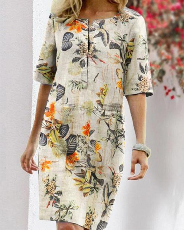 Vintage Linen Cotton Flower Print Dress
