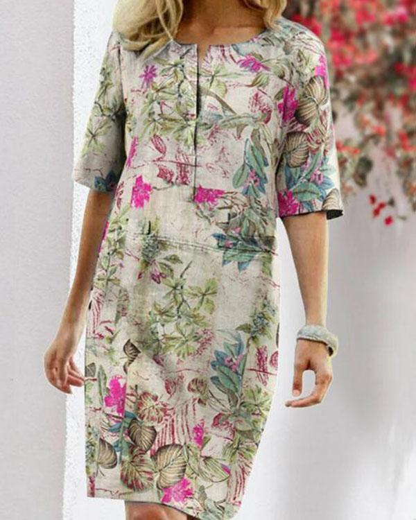 Vintage Linen Cotton Flower Print Dress