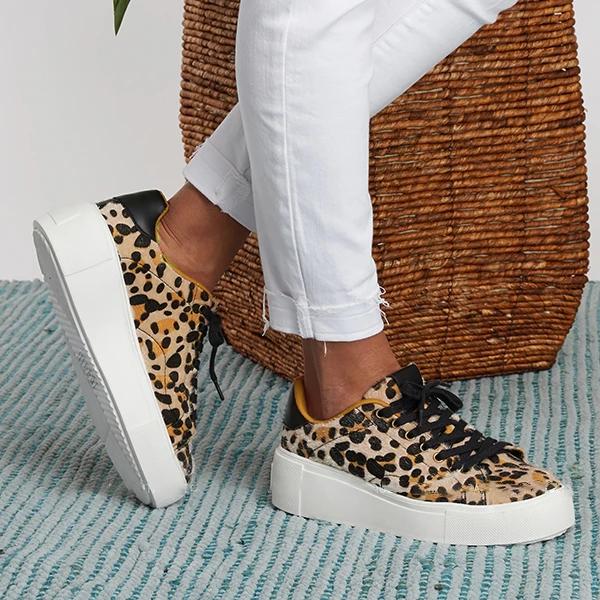 Trendy Leopard Print Suede Sneakers