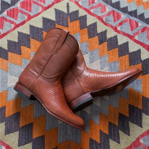 Men's Vintage Supple Lizard Leather Hand-lasted Mid Engineer Boots