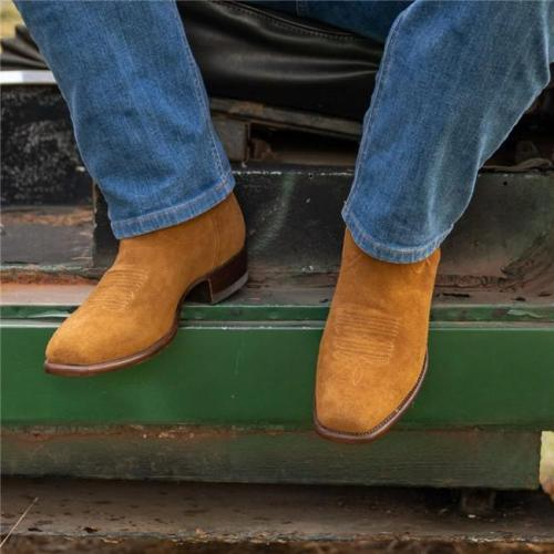 Men's Vintage Square Toe Suede Boots
