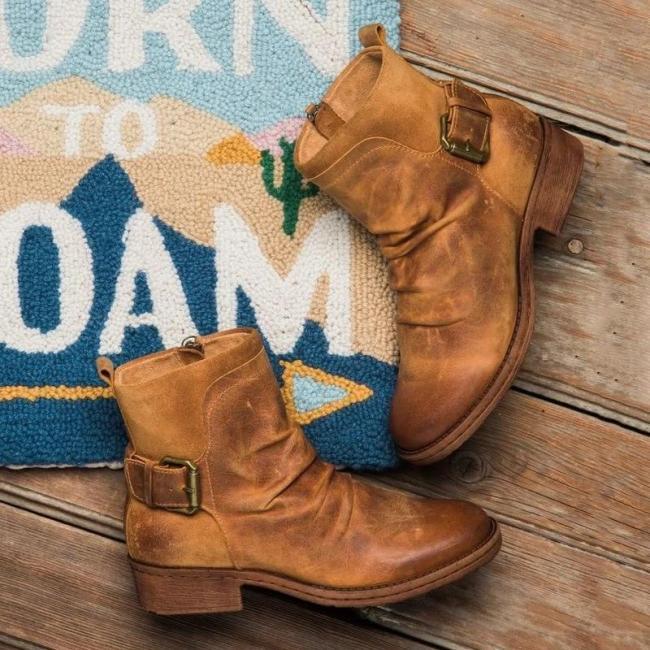 Women Buckle Cute Boots