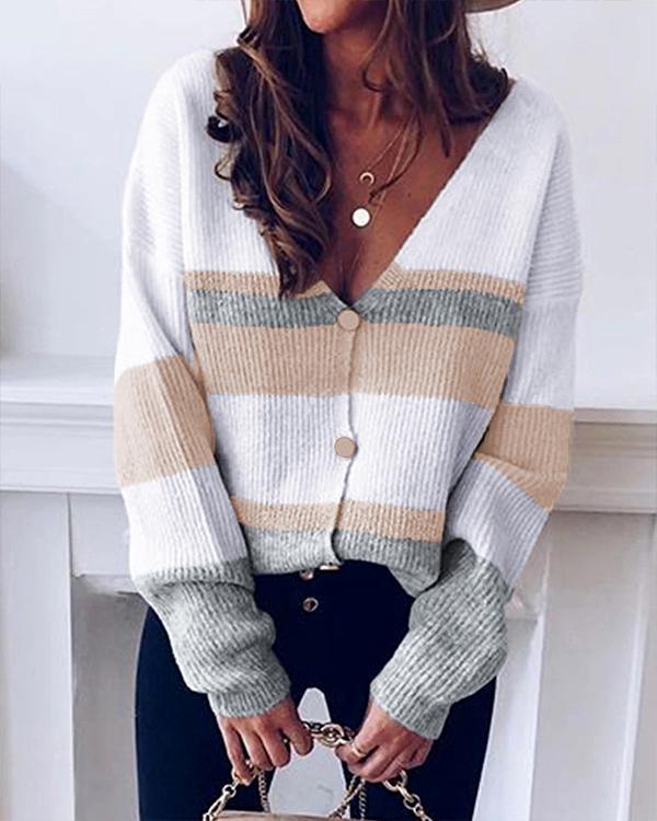 Striped V-neck Knit Sweater Cardigan