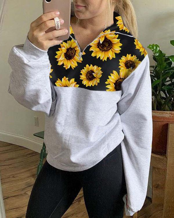 Sunflower Printed Zip Sweatshirt