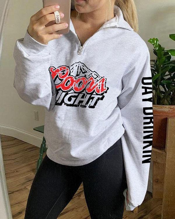 Casual Printed Zip Sweatshirt
